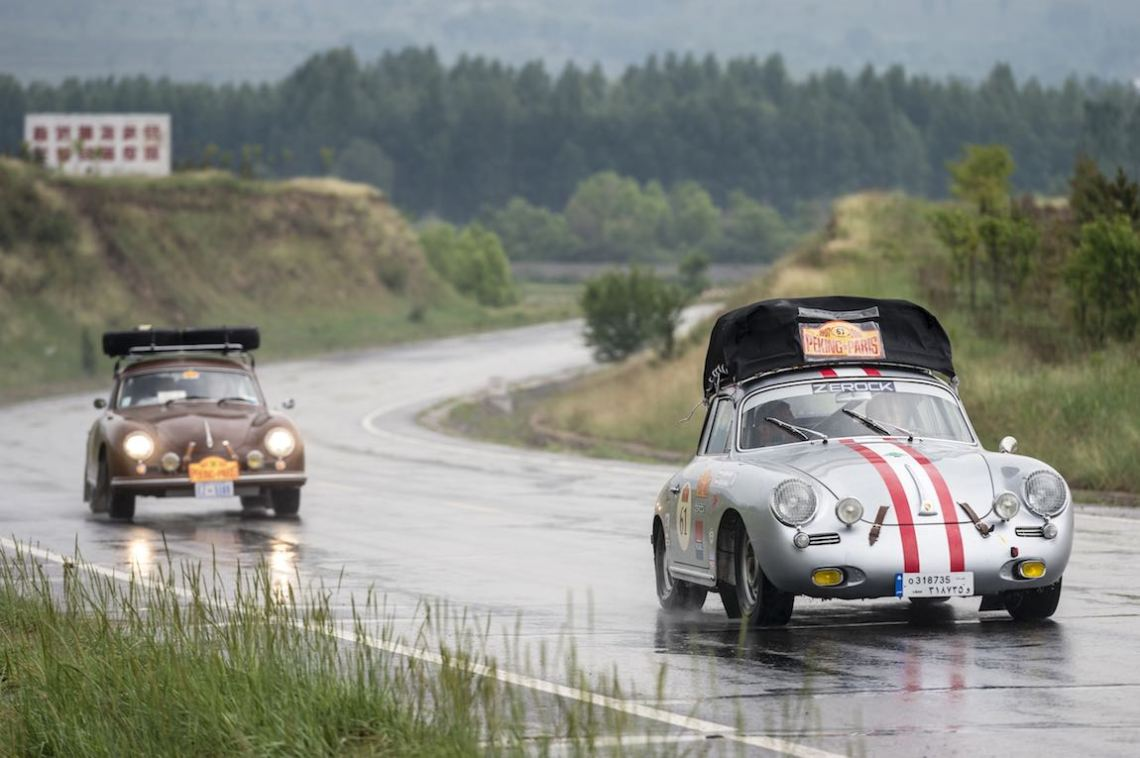 Car 58. Tony Connor(USA) / Jill Kirkpatrick(USA)1956 - Porsche 356A1600, Car 61. Charbel Habib(LB) / Walid Samaha(LB)1964 - Porsche 356C1599, Peking to Paris 2016., Peking to Paris 2016. Day 02. Datong - Erenhot
