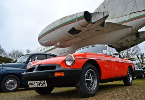 MG B at the Brooklands Museum New Year's Day Classic Gathering 2015