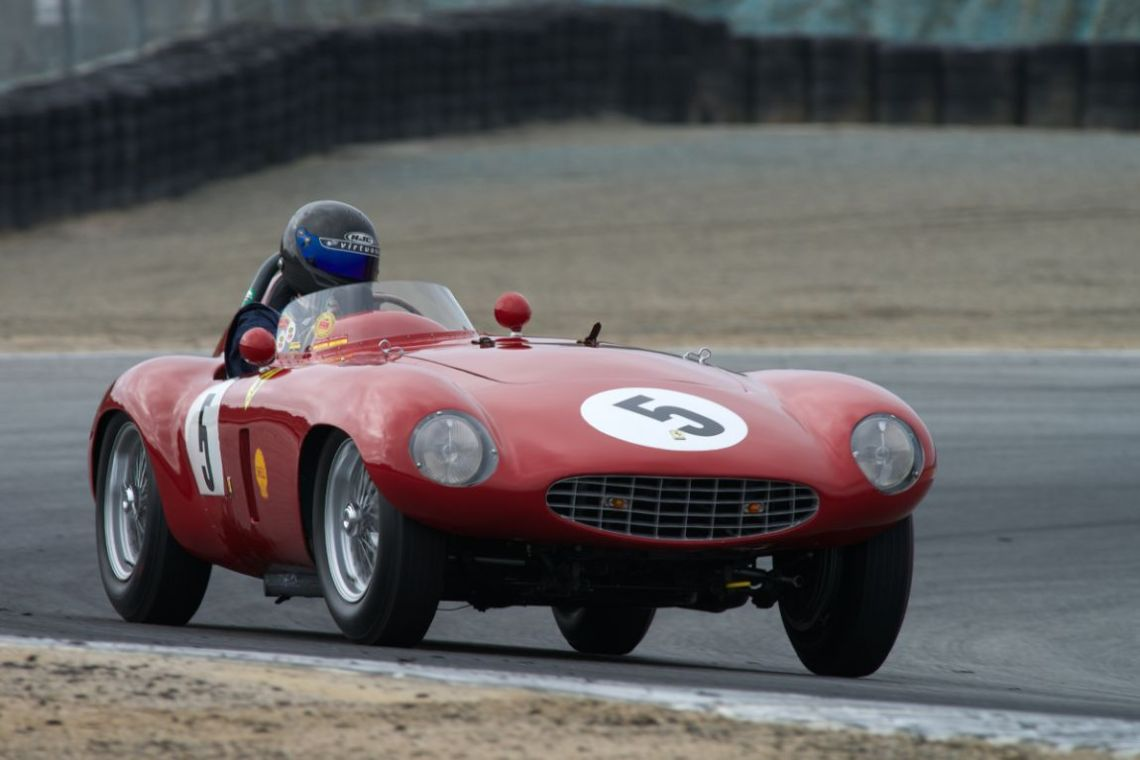 Scott Drnek in his 1954 Ferrari 750 Monza Spider Scaglietti in turn 2.