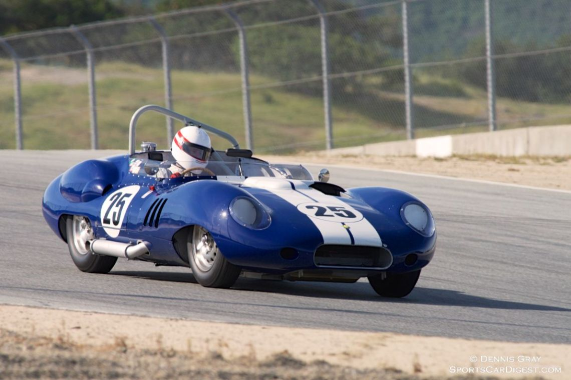 """Erickson Shirley sets up his Lister Costin Chevrolet for turn 8 """"The Corkscrew""""."""