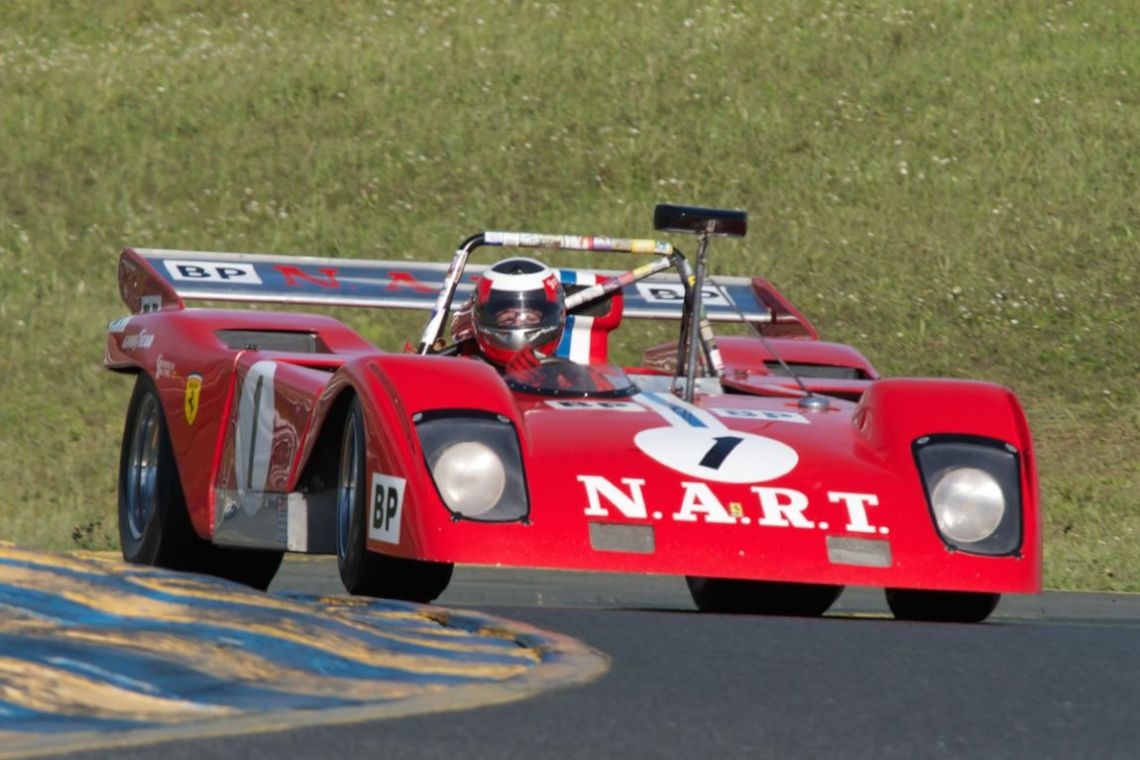 John Goodman's Ferrari Sparling 312P in turn two.