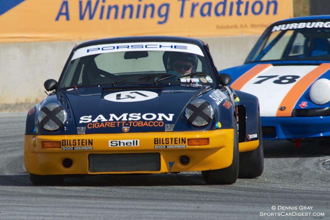 Steve Schmidt's Porsche RSR in turn eleven Saturday.