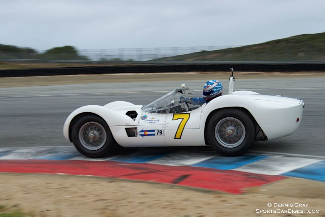 "Jonathan Feiber's Maserati Tipo 61 ""Birdcage"" in turn eleven Sunday."