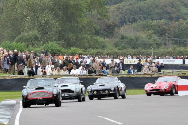 Two Aston Martin DB4 GTs, followed by a Ferrari 250 GT SWB and 250 GTO