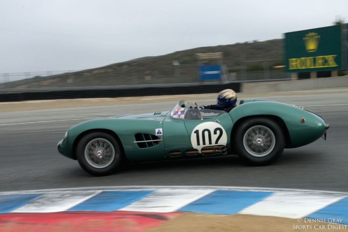 Gregory Whitten's 1957 Aston Martin DBR2 in turn eleven.
