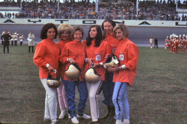 All-female Ring Free Oil Driving Team (L to R) of Suzy Dietrich, Donna Mae Mims, Smokey Drolet, Anita Taylor-Matthews, Janet Guthrie and an unidentified driver.