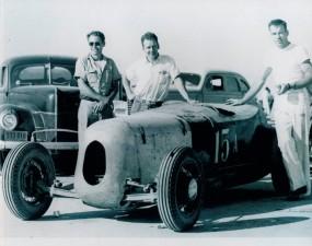 Dry Lakes, Southern Calif., circa 1948 - from left Bob Rufi, Bob Giovanine and Chuck Spurgin