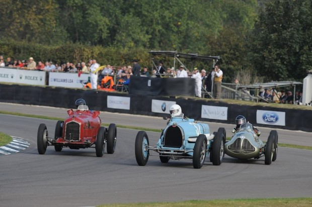 Ben Collings - Bugatti Type 54 tries to hold off Hugh Taylor - Alfa Romeo Tipo B (left) and Duncan Ricketts - ERA E-Type GP1 (right)