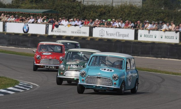 Jochen Mass leans in with his Morris Mini Cooper S