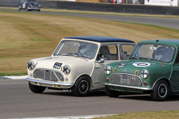 Brundle/Gaston Austin Mini Cooper S nudges past the Turner/Hack Austin Mini Cooper S