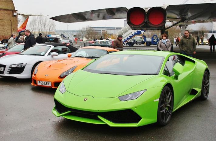 Modern exotics at the Brooklands Museum New Year's Day Classic Gathering 2015