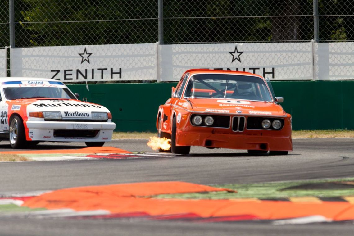 1972 BMW 3.0 CSL spitting flames at Monza Historic 2015