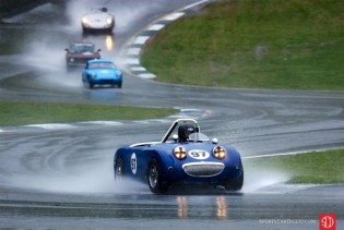 Austin-Healey Sprite in the rain at Road Atlanta