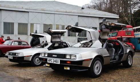 DeLorean at the Brooklands Museum New Year's Day Classic Gathering 2015