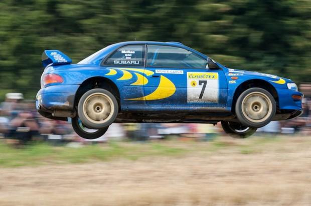 Junior World Champ Aaron Burkart wheels the ex-Colin McRae Subaru Impreza WRC