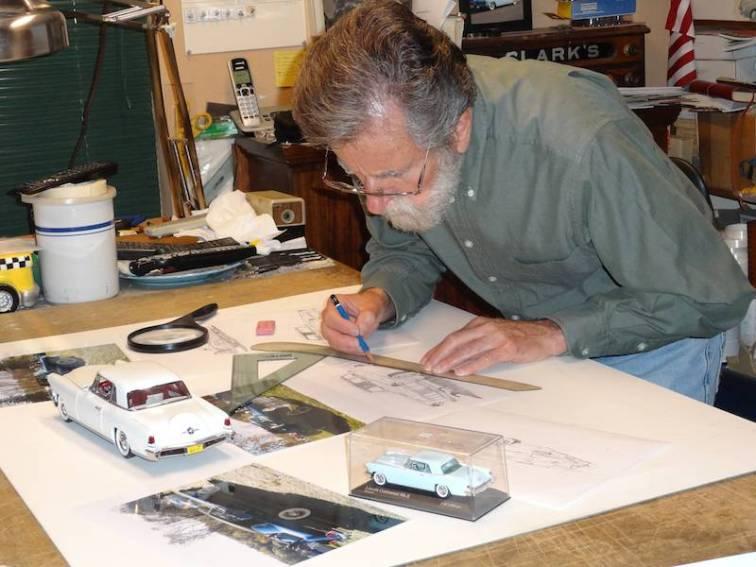 AFAS artist Ken Eberts at work on sketches for this year's commemorative Concours poster (photo: Ken Eberts/Pebble Beach Concours d'Elegance)