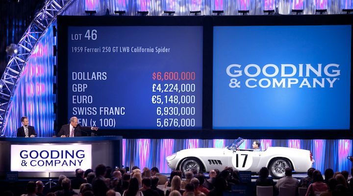 1959 Ferrari 250 GT LWB California Spider Comp on auction block