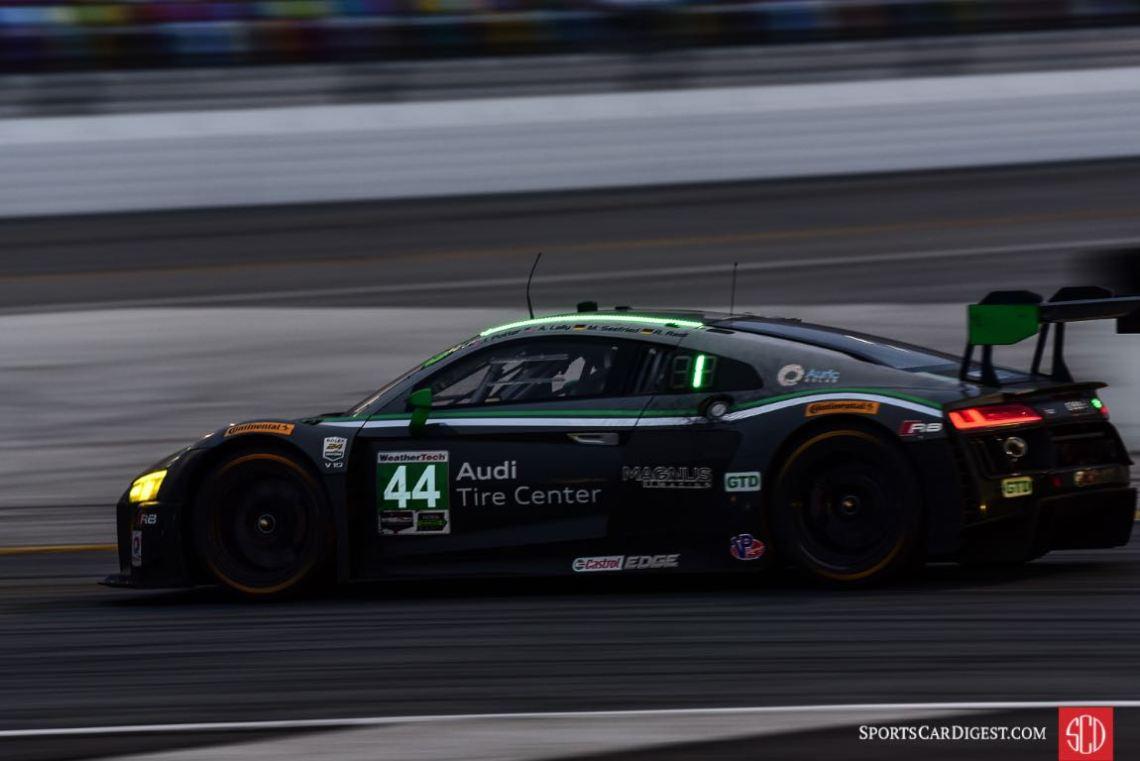 Audi Tire Center Magnus Racing Audi R8 LMS GT3, winner of GTD Class