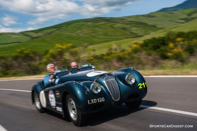 1951 Jaguar XK 120 Sports Ecurie Ecosse piloted by Jay Leno and Ian Callum