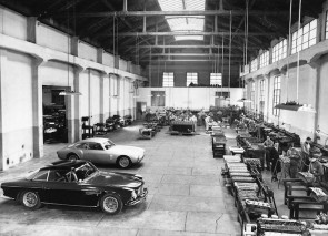 Maserati factory engine assembly line in 1956