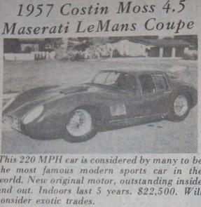 Costin 1957 Maserati 450S Coupe