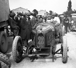 """Enzo Ferrari after winning the 1923 Circuito del Savio in an RLTF – the day he was presented with the """"Prancing Horse."""""""