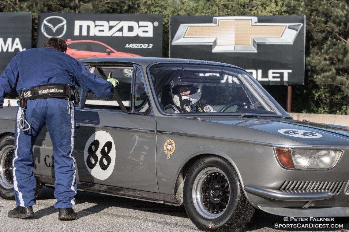 """Turn 7 drive-through, You said """"one coke?"""" DeSantis, 66 BMW 2000CS"""