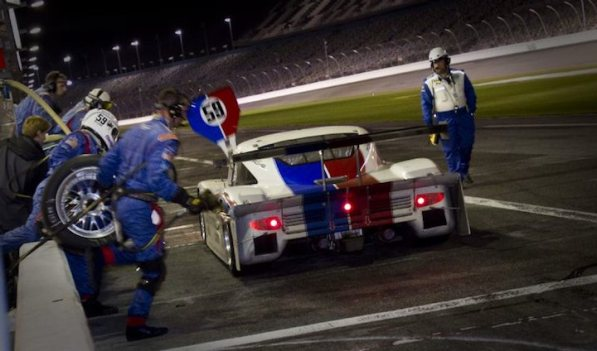 Night action in the pits - Brumos Racing #59