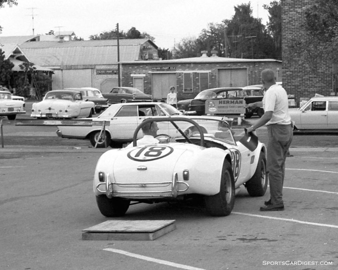 The Ed Lowther - Bob Nagel Shelby Cobra in downtown Sebring for tech inspection. They had to retire after 93 laps with mechanical issues. (photo: Dave Nicholas)