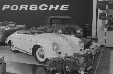 Porsche 356 display at the Geneva Motor Show in 1955 catches Mailander's eye and lens