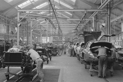 Mailander's coverage of the automobile includes amazing circa 1950's factory industrial scenes like the Mercedes-Benz 300 SL mass production line