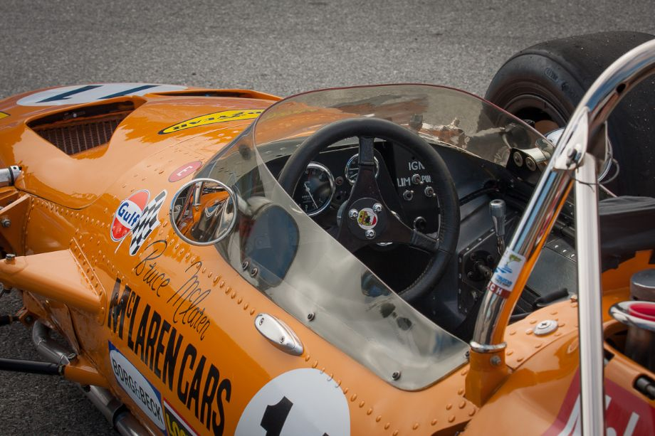 The cockpit of Martin Fogel's 1969 McLaren M10A. Legends of Motorsports Laguna Seca 2013 (Taken at 1/100 sec.@ f/11.0 - ISO 100) © 2013 Victor Varela