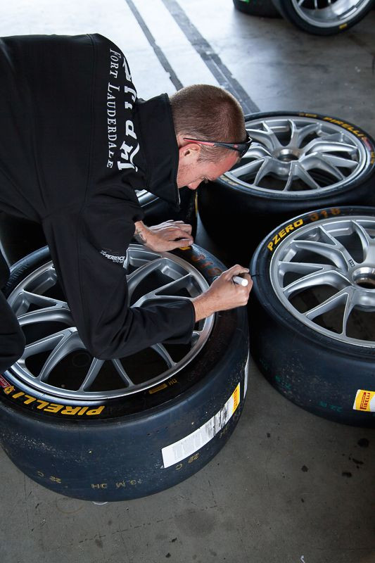 Tire graffiti by a crew member from Ferrari of Fort Lauderdale