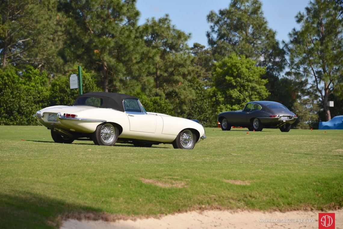 Pair of Jaguar E-Types on the preparation day
