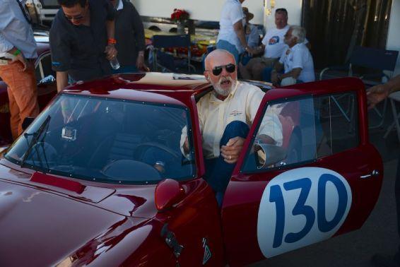 Auction Editor Rick Carey squeezes out of the 1965 Alfa Romeo Giulia TZ2
