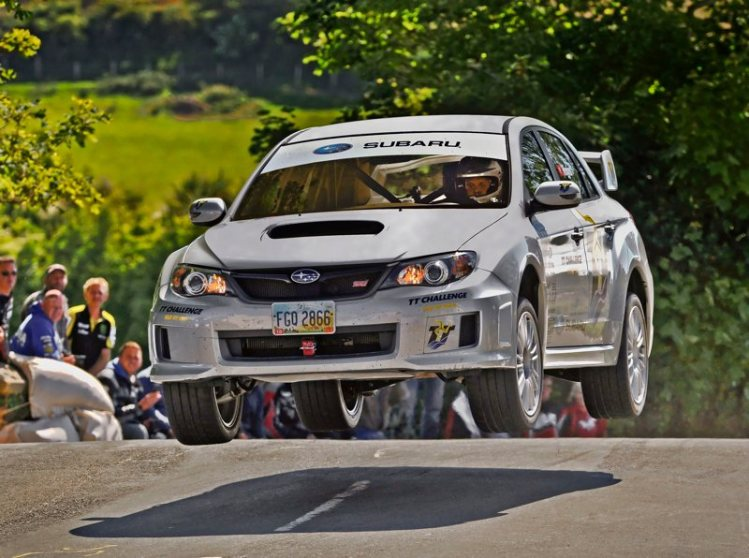 Subaru WRX STi Jump at Isle of Man