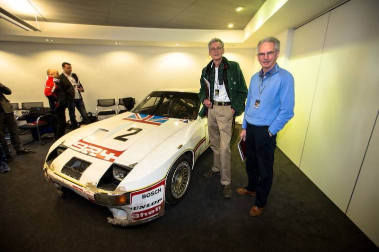 Tony Dron and Andy Rouse reunited with #2 Porsche 924 Carrera GT Le Mans race car they drove in 1980 (photo: Malcolm Griffiths)
