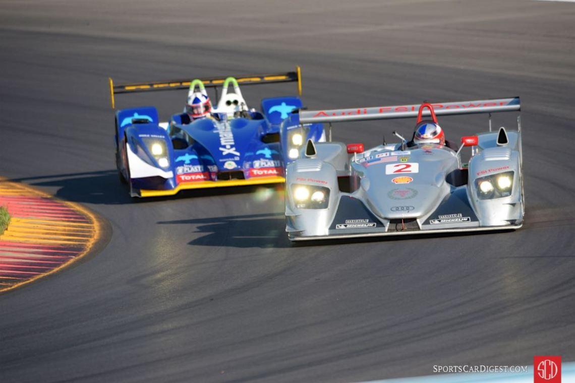Travis Engen 2005 Audi R8 LMP battles David Porter's 2007 Pescarolo Judd