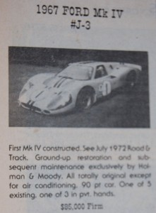 1967 Ford GT40 Mk IV J-3 offered for sale in the November 1976 issue of Hemmings for $85,000.
