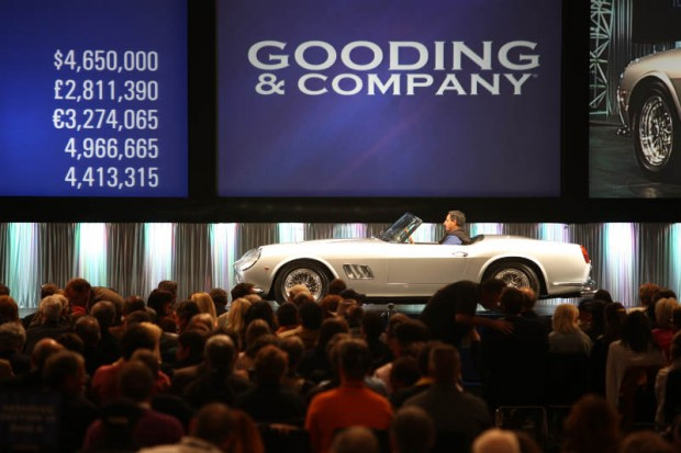<strong>1962 Ferrari 250 GT SWB California Spider – Sold for $5,115,000 versus unavailable estimate.</strong> Ferrari Classiche Certified and restored by Paul Russell; award winner at Pebble and Amelia Concours; formerly the property of Mark Tuttle, Anthony Wang and Bud Lyon.