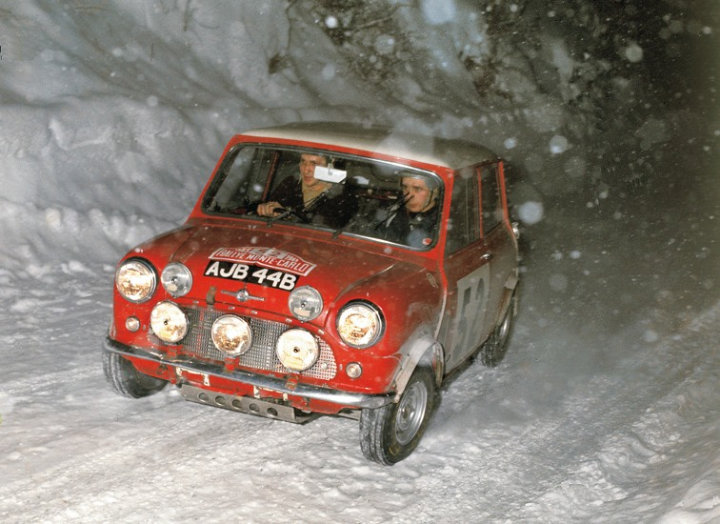 Mini Cooper S winning Rallye Monte Carlo for second time in 1965 with Makinen and Easter