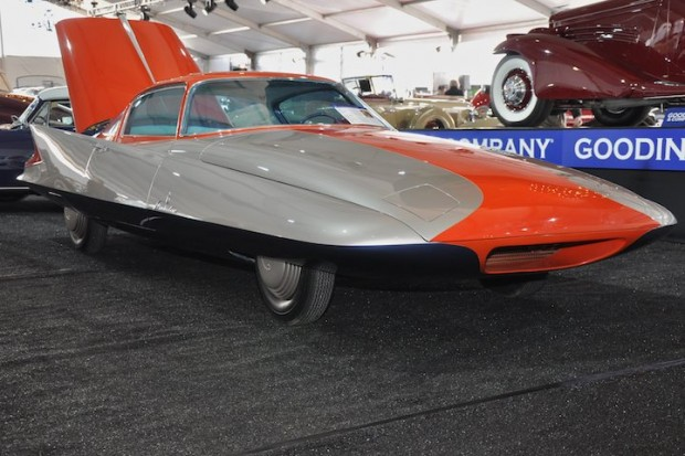 <strong>1955 Ghia Streamline X 'Gilda' – Did not sell versus pre-sale estimate of $1,000,000 - $1,300,000.</strong> One-off 1955 Turin Auto Show car powered by a 70 HP gas turbine engine.