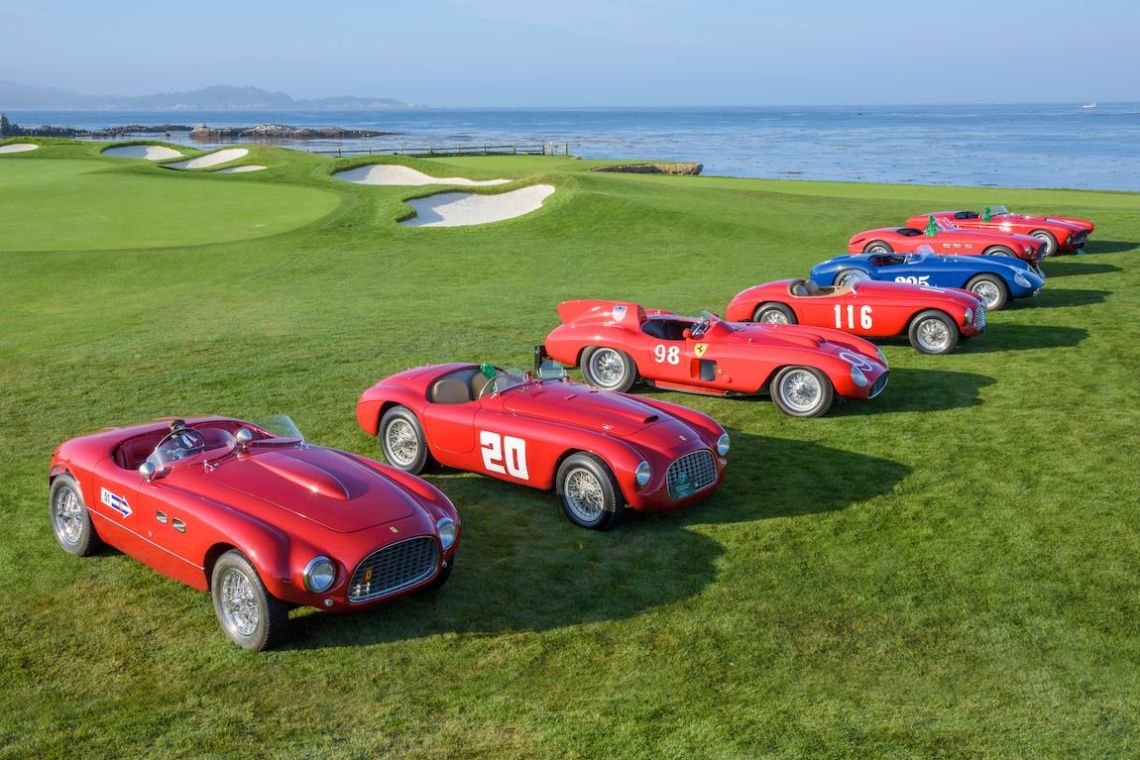 Ferraris in the Pebble Beach Road Races display on the lawn