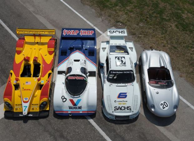 Porsche Sebring Group Picture shows the 718 RS 60, RS Spyder, 935 and 962 models from above