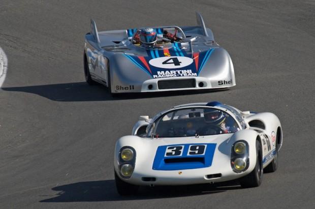 Howard Cherry 1966 Porsche 910 leads Phil Daigrepont's 1970 Porsche 908/3