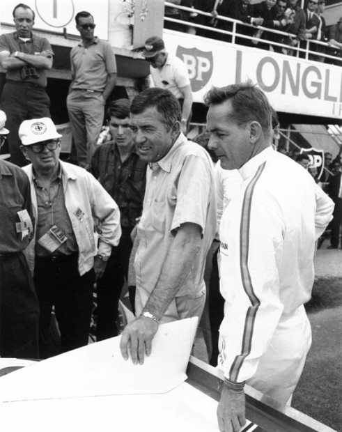 Carroll Shelby and Phil Hil at Le Mans 1965