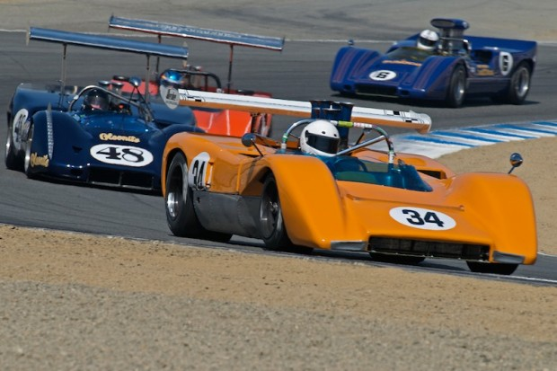 Jay Esterer 1970 McLaren M8C leads Andy Boone's 1968 McLeagle M6B, Don Bell's Lola T-163 and Carl Moore's McLaren M6A