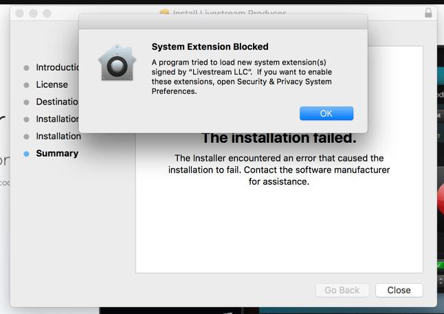 producer installation fails on
