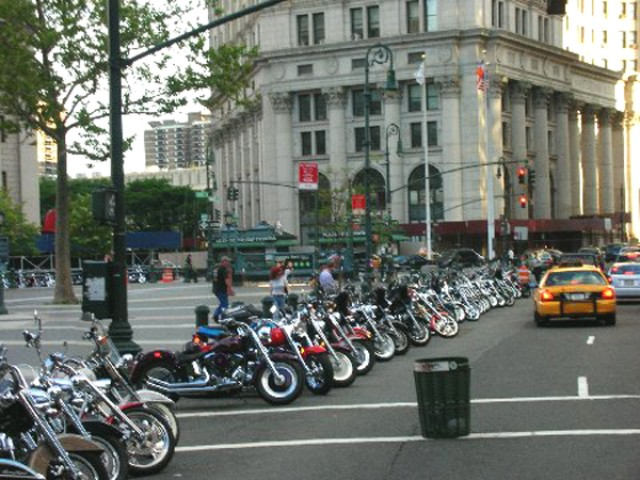 motorcycles parked downtown after Garlic Run