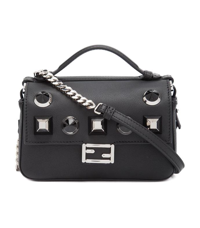 Fendi Black Micro Studded Double 'Baguette' Bag $1260